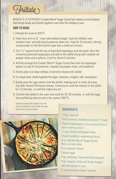 Homestyle recipes to reimagine leftovers.  Frittata