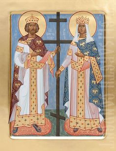This icon of Holy Emperor Constantine and his mother Helen is painted to order using acrylic or tempera paints in the Icon Painting Studio of St Elisabeth Convent