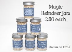 Magic reindeer food Jars Price for one jar by Reindeerfoodmagic Magic Reindeer Food, Santa And Reindeer, Christmas Eve Box, Food Jar, Poem, Sprinkles, Jars, Sparkle, Glitter