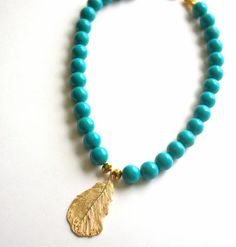 Turquoise Statement Necklace, Modern Bohemian Necklace, Chunky, Gold, Blue Green