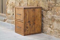 Mesita de noche Parker - Paletos Filing Cabinet, Storage, Furniture, Home Decor, Ideas, Tiles, Wine Boxes, Solid Oak, Wood Pallets