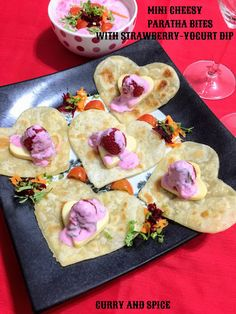 CURRY AND SPICE: MINI CHEESY PARATHA BITES WITH STRAWBERRY-YOGURT D...
