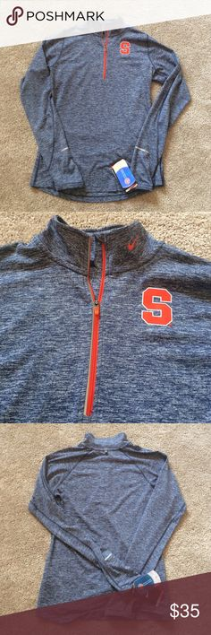 Nike Dry Fit Syracuse 1/4 Zip Nike Dry Fit Syracuse 1/4 Zip | New With Tags | Size Medium | Colors: Heathered Blue with Orange Accents | Retails for $65.00 | No Trades Nike Jackets & Coats