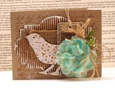 """""""natural beauty"""" card by Julia Stainton I love the natural materials and fibers she used. Tim Holtz Dies, Sewing Crafts, Diy Crafts, Old Letters, Crackle Painting, Christmas Cards, Christmas Ornaments, Bird Cards, Diy Canvas"""