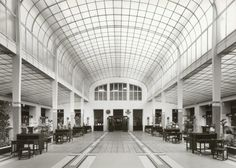 Vienna's Art Nouveau Architecture by Otto Wagner: Banking Hall, Inside the Austrian Postal Savings Bank, 1903-1912 http://architecture.about.com/od/greatbuildings/ss/Otto-Wagner-in-Vienna-Selected-Architecture.htm#step4