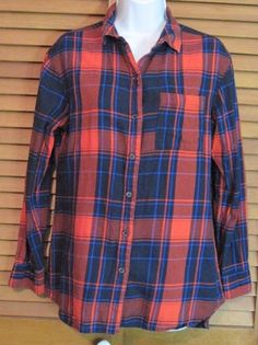 Old Navy Boyfriend size XS Red Blue Plaid Shirt Women's Button Up Long Sleeve #FOREVER21 #ButtonDownShirt #Casual