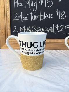 Thug Life 14oz sparkling coffee mug by SipSparkle on Etsy