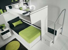 small bedroom idea - well that's a bit cool. I am digging this, but maybe with a full size bed instead? Have a walk up area on both sides leading up to a desk.