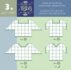 Positioning diagram to make a cochet motif top --- Todo para Crear ... : todo…