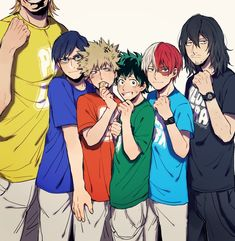 All Might, Iida Tenya, Bakugou Katsuki, Midoriya Izuku, Todoroki Shouto, and Aizawa Shouta