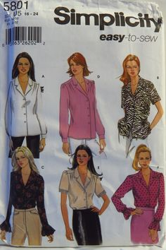 Simplicity 5801 Misses' Blouse with Sleeve Variations
