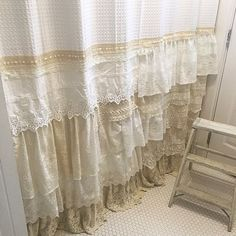 Shabby Chic Shower Curtain White Ivory Lace Ruffle Girls Bohemian Bathroom Gift for Her