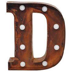 "9"""" Metal LED Letter """"D"""" - Rust (DA3724A)"
