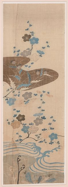Piece from a summer kosode (katabira)  Period: Edo period (1615–1868) Date: late 17th–mid-18th century Culture: Japan Medium: Ground of white bast fiber (asa) Dimensions: H. 37 3/8 in. (95 cm); W. 12 11/16 in. (32.2 cm) Classification: Textiles-Dyed