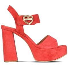 Love Moschino Sandals (16.990 RUB) ❤ liked on Polyvore featuring shoes, sandals, heels, red, red suede sandals, red heel shoes, suede sandals, rubber sole shoes and red shoes