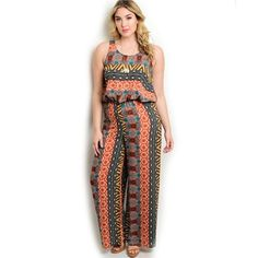 f15d54c0e Get your ethnic juices running because this sleeveless jumpsuit featuring  tribal print all over, gathered