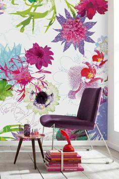 schöne wandgestaltung tapete florale motive blumen