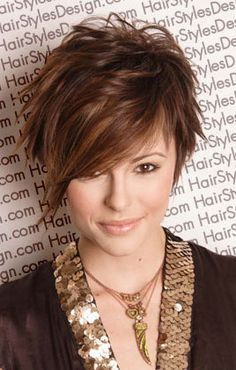 love the color and the cut! i personally think, if you are a young girl and you have straight, stringy hair and you don't do anything to change it often, you are missing out! anyone can rock long hair, but only true beauties can rock edgy short hair! :)