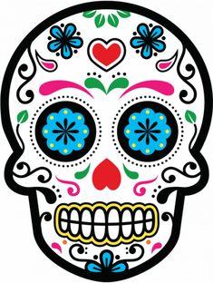 Sticker Calavera - Tete De Mort Mexicaine 24 - ref.d7462 | MPA Déco #mexico #mexico #dia #de #muertos Halloween Canvas, Halloween Rocks, Halloween Crafts, Halloween Decorations, Sugar Skull Painting, Sugar Skull Art, Sugar Skulls, Toile D'halloween, Masque Halloween