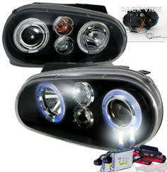 SAVE $300.01 - #High Performance Xenon HID Volkswagen Golf Projector Headlights with Premium Ballast (Black Housing w/ Clear Lens & 10000K HID Lighting Output) $199.99