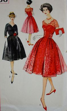 1950s Misses Cocktail Dress Rounded Back by BluetreeSewingStudio, $56.00 pattern color photo print ad model magazine vintage fashions style illustration red black lace full skirt illusion top