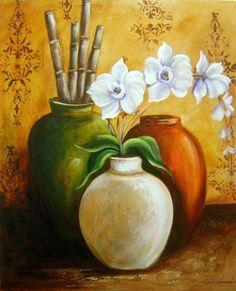 Resultado de imagem para pote com bambu pintura oleo
