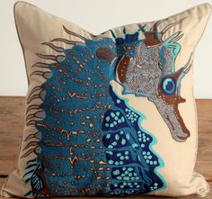 Embroidered Seahorse Pillow - Blue: Beach Decor, Coastal Home Decor, Nautical Decor, Tropical Island Decor & Beach Cottage Furnishings
