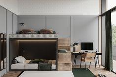 F-House on Behance Luxury Homes Interior, Home Interior Design, Soundproof Panels, Kids Room Design, Design Blogs, Guest Bedrooms, Luxury Living, Kids Bedroom, Furniture Design