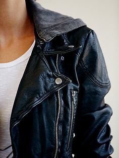 (LOVE) Distressed vegan faux leather motorcycle jacket. Yes please!  FINALLY a nice looking VEGAN motorcycle jacket! Glad that the hoodie is detachable. (perhaps in a size 8?)