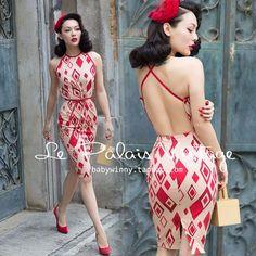 Le Palais Vintage Elegant Sexy Red Rhombus Pattern Slim Backless Halter Dress