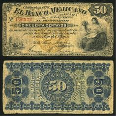Chihuahua 1878 El Banco Mejicano Fifty Centavos Pick Number S144 Beautiful Very Good Banknote