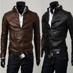 Men Brown Leather Jacket, Mens Leather Jacket, Men Slim Leather Jacket with Tab collar on Etsy, $89.00