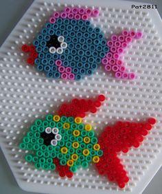 Fishes hama perler by Les loisirs de Pat