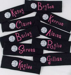 Monogrammed VOLLEYBALL Stretch Headband in Assorted Colors.should get for team Volleyball Team Gifts, Volleyball Party, Volleyball Outfits, Volleyball Shirts, Volleyball Quotes, Softball, Volleyball Ideas, Volleyball Bedroom, Volleyball Locker