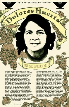 "Dolores Huerta poster ""his poster is by B. Cortez & B. Riley from San Francisco. Their subject is Dolores Huerta, Chicana labor leader and co-founder of the United Farm Workers Union. In the 1970's she directed the groundbreaking National Grape Boycott. This poster is also bi-lingual, English and Spanish.    2 color offset printed poster  11""x17""  unsigned/unlimited edition"""