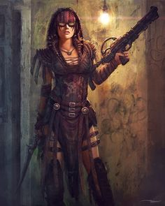 A post apocalyptic girl with guns and swords Post Apocalypse, Apocalypse World, Apocalypse Armor, Apocalypse Fashion, Cyberpunk, Fantasy Characters, Female Characters, Larp, Post Apocalyptic Girl