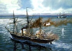 "THE CSS ALABAMA  August 6 1863, The CSS Alabama captures the USS Sea Bride near the Cape of Good Hope. In eleven months the C.S.S. Alabama captured 69 Northern vessels valued at $6,500,000, while never entering a Confederate port… Photo: Confederate ship ""CSS Alabama"" in battle with Union ship ""USS Kearsarge"""