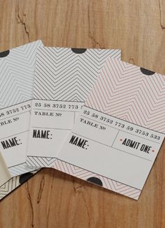 Ticket Place Cards -- For the movie or theatre theme party