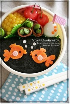 gold fish bento....great way to get kids to try something new