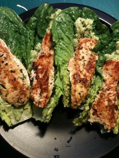 Spicy Chicken Strippers With Guacamole on Romaine Hearts