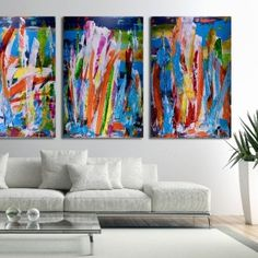 Competing for the Sun / Large Triptych by Nestor Toro - ABSTRACT ART - NESTOR TORO - LOS ANGELES Sun Painting, Painting Edges, Acrylic Painting Canvas, Abstract Painters, Abstract Art, Bright Paintings, Paint Shades, Mixed Media Artwork, Abstract Expressionism Art
