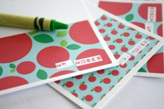 Personalized Teacher Gift,  Mini Note Cards (14) -  End of the Year Gift - Apple Patterns Mini via Etsy