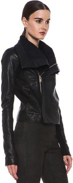 Rick Owens Clean Biker Leather Jacket in Black - Lyst