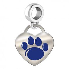 Penn State Nittany Lions Color Heart Dangle  This color heart dangle fits all Pandora style charm bracelets. This charm features the Penn State University Nittany Lions logo on a solid sterling silver heart. These dangle charms have the finest detail and are the highest quality of any collegiate charm or pendant available.  Officially Licensed Pennsylvania State University Charm