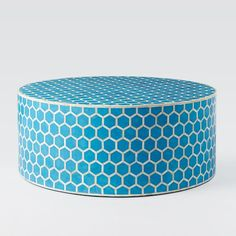 Bone Inlaid Round Coffee Table, Turquoise