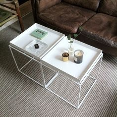 Two small coffee tables pushed together gives the living room set-up an added level of flexibility.