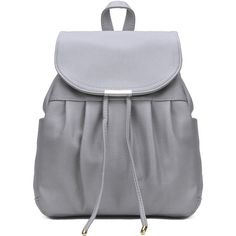 Yoins Leather-look Backpack in Grey ($33) ❤ liked on Polyvore featuring bags, backpacks, grey, drawstring backpack, faux leather rucksack, day pack backpack, vegan bags and fake leather backpack