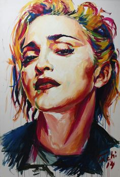 Acrylic Portrait Painting, Watercolor Portraits, Portrait Art, Watercolor Art, Madonna Photos, Madonna Art, Madonna Music, Lady Madonna, Pink Floyd