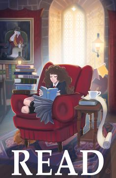 Obviously I have to have a print of Hermione reading in my library!