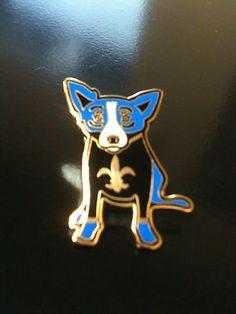 Blue Dog George Rodrigue Black and Gold Lapel Pin | eBay